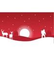 On red backgrounds Santa and reindeer landscape vector image