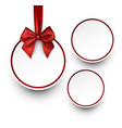 White holiday background with red bow vector image