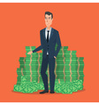 Happy young businessman standing near a huge pile vector image