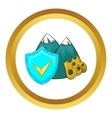 Landslide and blue shield with tick icon vector image