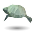 Abstract of sea turtle in origami style on white vector image