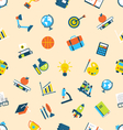 Seamless Texture with Icons of Education Item Scho vector image