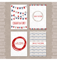 set of cards with hand drawn sketch elements vector image