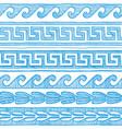 blue greek wave and meander vector image