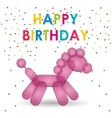 happy birthday pink balloon horse shape confetti vector image
