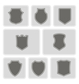 monochrome icons with shields vector image