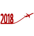 new year 2018 with airplane vector image