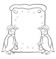 Penguins with Christmas poster outline vector image