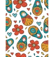 Seamless Russian Dolls pattern vector image