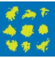 Set of yellow halftone blots vector image