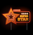 neon sign of disco star and neon text super star vector image