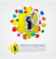 metal key and puzzle pieces vector image