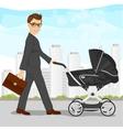 business man pushing pram or baby carriage vector image