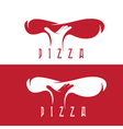 pizza and hand negative space design template vector image