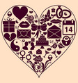 heart shape with st valentine day icons vector image
