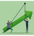 men business arrow growth hanging vector image