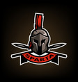 spears and spartan battle helmet logo vector image