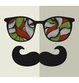Vintage eyeglasses with reflection vector image