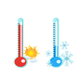 thermometer in hot and cold temperature vector image vector image