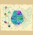 cartoon human brain intelligence concept vector image
