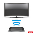 wireless controlling modern led tv with smartphone vector image