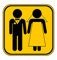 Wedding couple button vector image