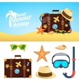 Summer background and icons vector image