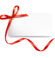 Card with red bow and ribbon vector image