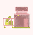 flat icon in shading style shop cart with food vector image