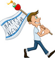 Jewish Guy Hold Flag For Rosh Hashanah vector image