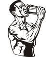 Man drinking water from a shaker vector image