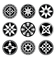 Mandala elements tattoo icon set Star floral vector image