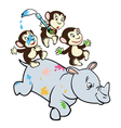 three little monkeys and rhino vector image vector image