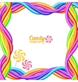 Rainbow colors candy ropes background vector image