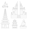 Bali Thin Line Art vector image