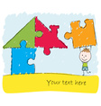 Boy solving puzzle house vector image