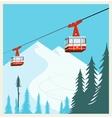 Vintage Winter cartoon background poster Red ski vector image