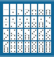 full set of white dominoes with shadows on a blue vector image