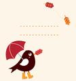 Cute autumn greeting Card with cartoon Bird vector image vector image