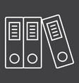 Binders line icon business and folder vector image