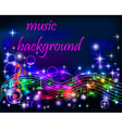 Bright shiny neon background music vector