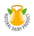 logo earthenware jug with milk vector image