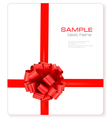 Card with red gift bow with ribbons vector image vector image