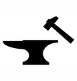 Anvil and mallet silhouette vector image
