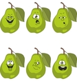 Emotion cartoon green pear set 014 vector image