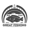 Fishing tournament vintage isolated label vector image