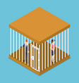 isometric businessman and businesswoman trapped vector image