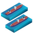 isometric container ship cargo vessel detailed vector image