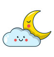 moon and cloud icon cartoon style vector image
