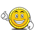 optimistic coin cartoon character style vector image